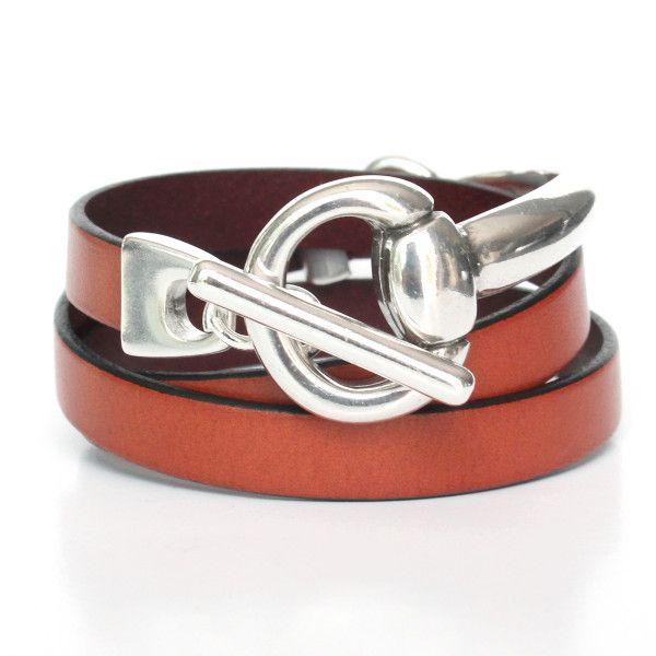Bracelet cuir femme 3 tours demi-jonc Étrier 1