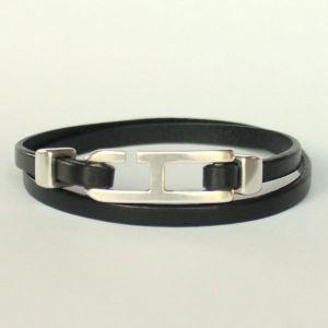 Bracelet cuir homme double tour H 1