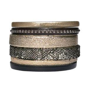 Bracelet cuir femme manchette Or Noir Gold Doré 1