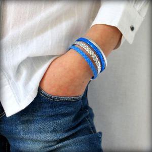 Bracelet enfant fille cuir manchette bleu Electrique 4