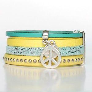 Bracelet enfant fille cuir manchette Peace And Love jaune 2
