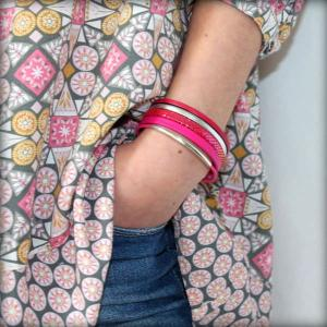 Bracelet enfant fille cuir manchette rose Framboise 5