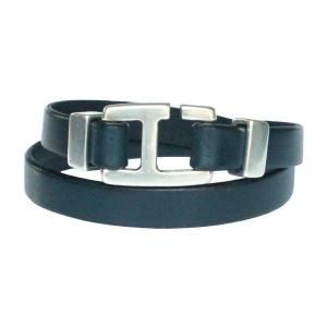 Bracelet homme cuir fermoir crochet H bleu gris