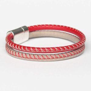 Bracelet homme cuir surpiqué rouge beige 2