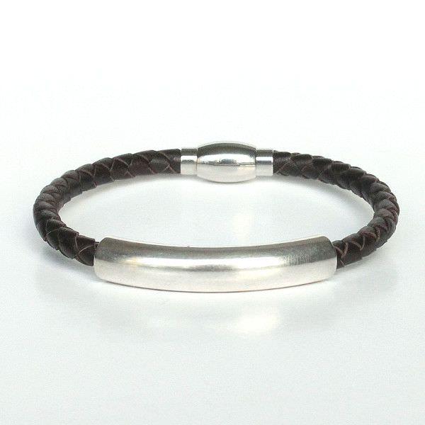 """Bracelet homme cuir surpiqué """"Tube"""" chocolat 1"""
