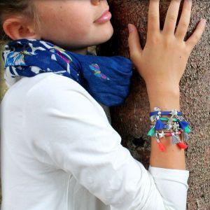 Bracelet bijou enfant fille cuir Pompon métal argenté Silver 4