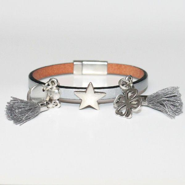 Bracelet bijou enfant fille cuir Pompon métal argenté Silver 1