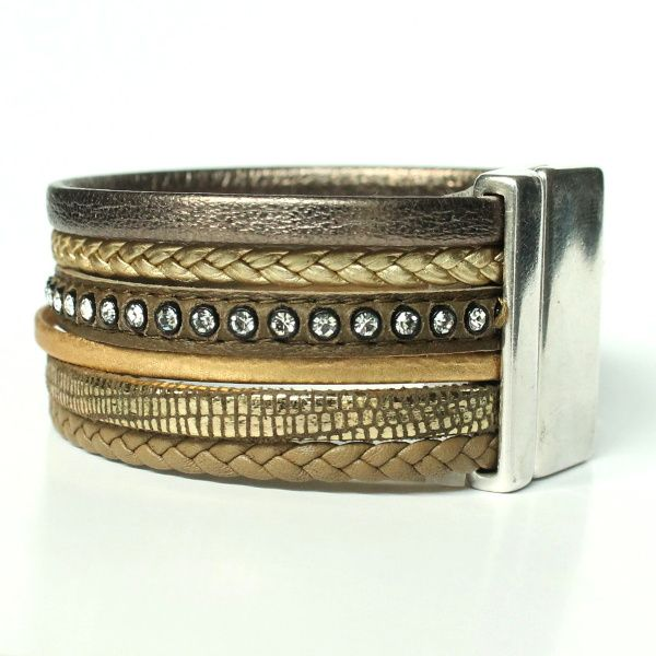Bracelet manchette femme cuir tressé multi liens vert kaki doré strass 1