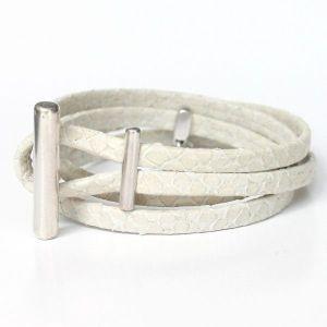 Bracelet femme cuir blanc écru façon reptile Naja 1