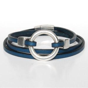 bracelet enfant ado cuir multi tours anneau bleu marine 1