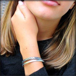 bracelet enfant fille cuir argenté noir Mamba 4