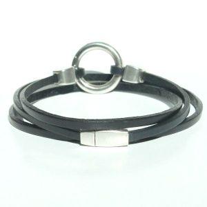 bracelet homme cuir anneau triple tours fermoir aimanté noir 2