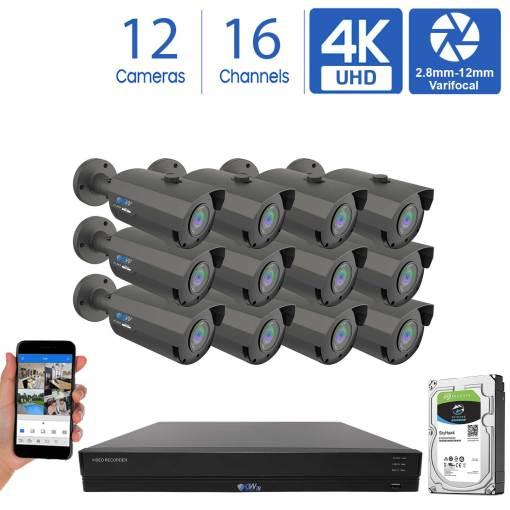 GW956HD16-4T 16 Channel 12 Camera Coaxial 4K DVR Varifocal Bullet Security Camera