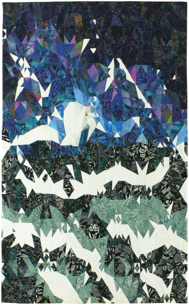 An abstracted image in dark blues and greens with streaks of brilliant white.