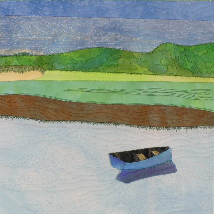 Blue Dinghy is a tranquil landscape with a blue dinghy floating on water.