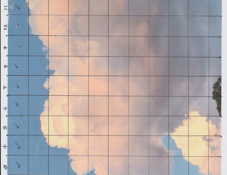 Image of clouds superimposed with a grid, the squares identified by 1 - 13 across the top and A - K along the left side.