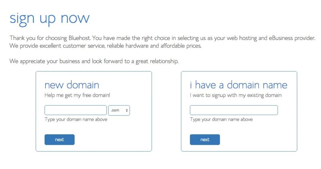 Sign up for web hosting