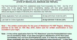 FCI NEF Region Admit Card
