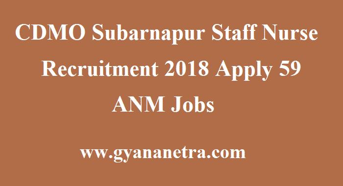 CDMO Subarnapur Staff Nurse Recruitment
