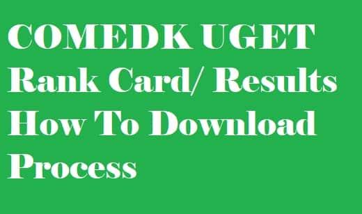 COMEDK UGET Rank Card