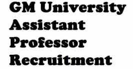 GM University Assistant Professor Recruitment