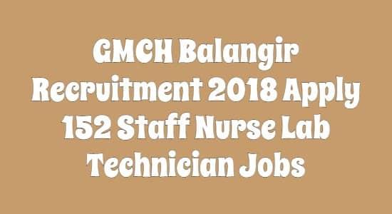 GMCH Balangir Recruitment 2018