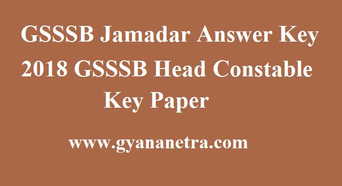 GSSSB Jamadar Answer Key