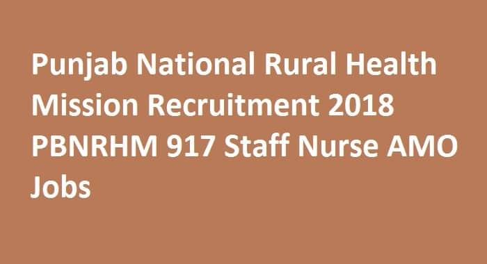 Punjab National Rural Health Mission Recruitment 2018