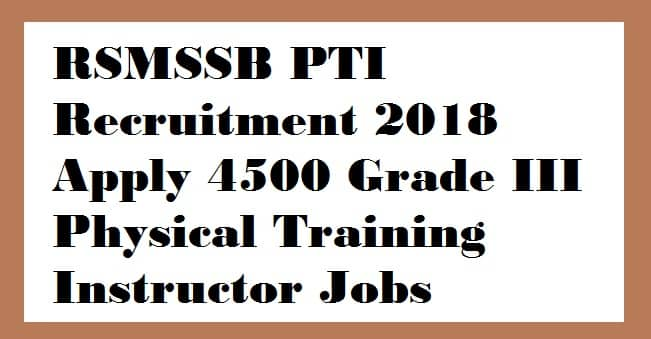 RSMSSB PTI Recruitment