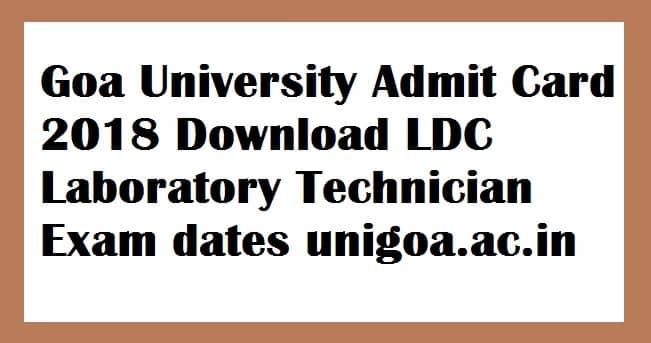 Goa University Non Teaching Admit Card