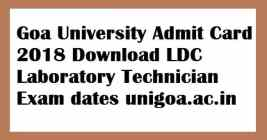 Goa University Non Teaching Admit Card