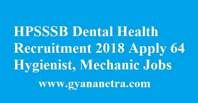 HPSSSB Dental Health Recruitment