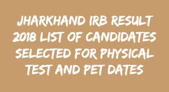 JSSC IRB Result 2018