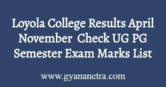 Loyola College Results November April