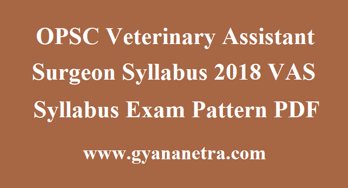 OPSC Veterinary Assistant Surgeon Syllabus