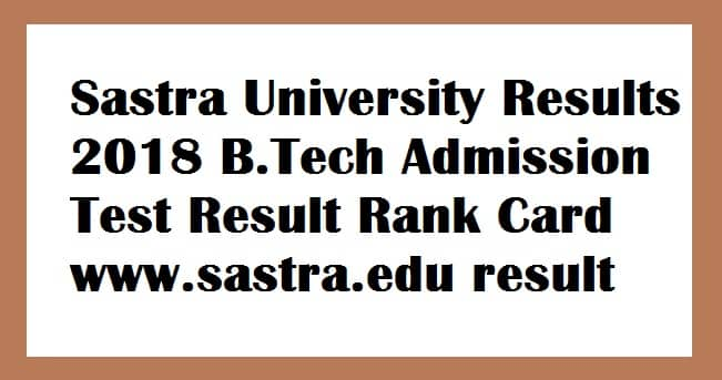Sastra University Results