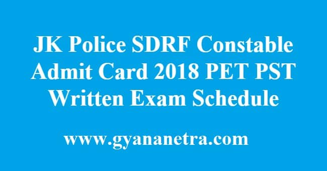 JK Police SDRF Constable Admit Card