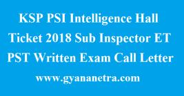 KSP PSI Intelligence Hall Ticket