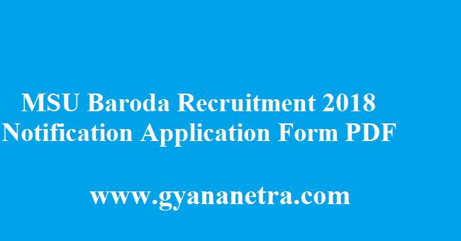 MSU Baroda Recruitment 2018