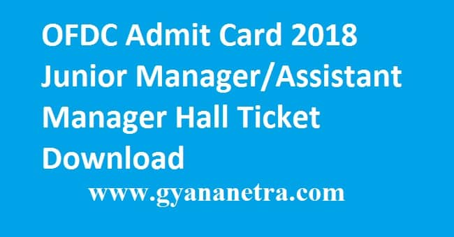 OFDC Admit Card 2018