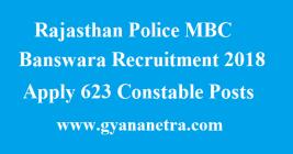 Rajasthan Police MBC Banswara Recruitment