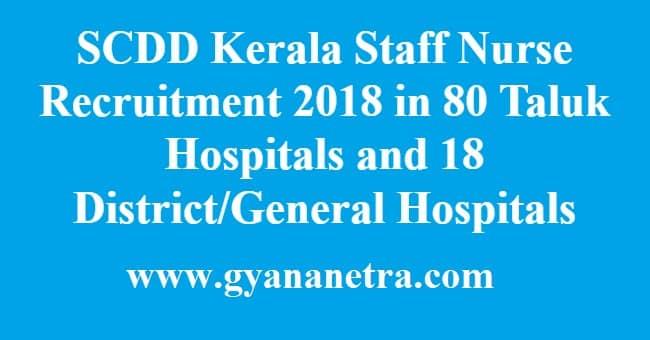 SCDD Kerala Staff Nurse Recruitment
