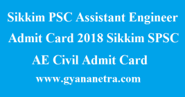 Sikkim PSC Assistant Engineer Admit Card