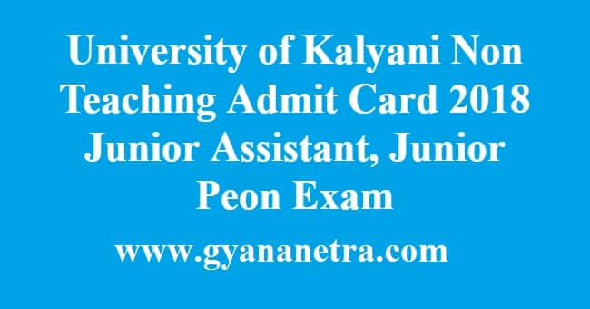 University of Kalyani Non Teaching Admit Card