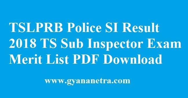 TSLPRB Police SI Result