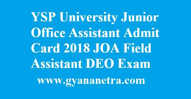 YSP University Junior Office Assistant Admit Card