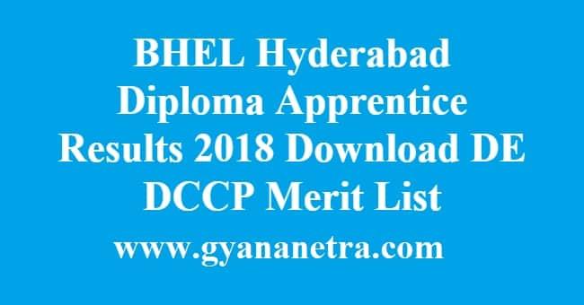 BHEL Hyderabad Diploma Apprentice Results