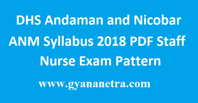 DHS Andaman and Nicobar ANM Syllabus