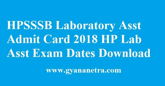 HPSSSB Laboratory Assistant Admit Card