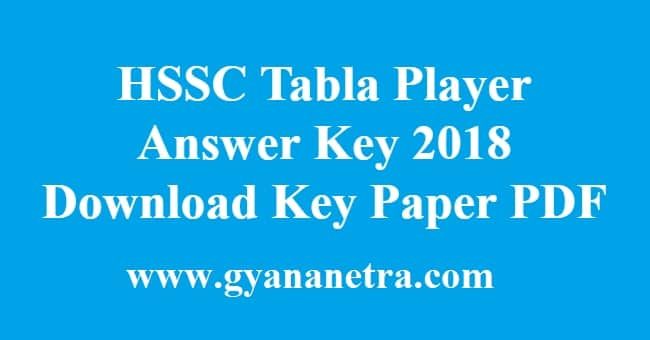 HSSC Tabla Player Answer Key